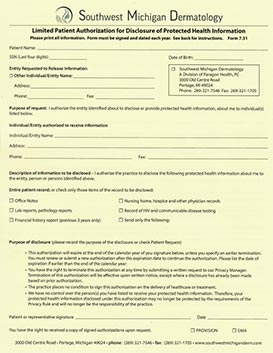 Patient Authorization for Disclosure of Protected Health Information - Southwest Michigan Dermatology Portage, MI